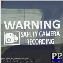 1 x 200mm-Warning SAFETY CAMERA Recording Warning Stickers-CCTV Sign-Car,Taxi